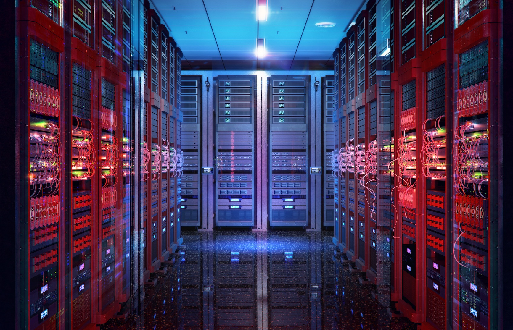 Data center with server racks, IT working server room with rows of supercomputers. 3D concept illustration of information technology, cyber network, hosting, data backup, render farm, storage cloud