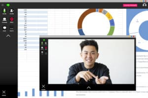 Screenshot of cheerful confident Asian male CEO discussing statistics review with charts graphs.